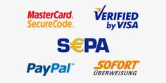 Die möglichen Zahlungsmethoden: MasterCard SecureCode, VERIFIED by VISA, SEPA, PayPal und SOFORT ÜBERWEISUNG
