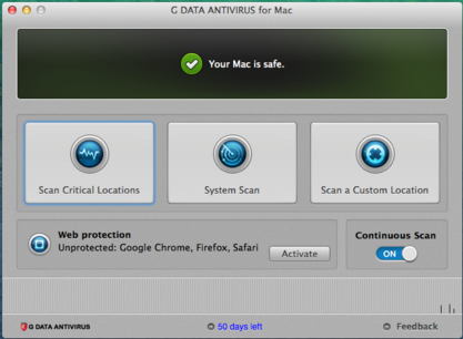 Screenshot GUI - G DATA ANTIVIRUS FOR MAC