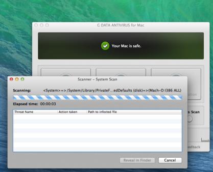 Screenshot System Scan - G DATA ANTIVIRUS FOR MAC